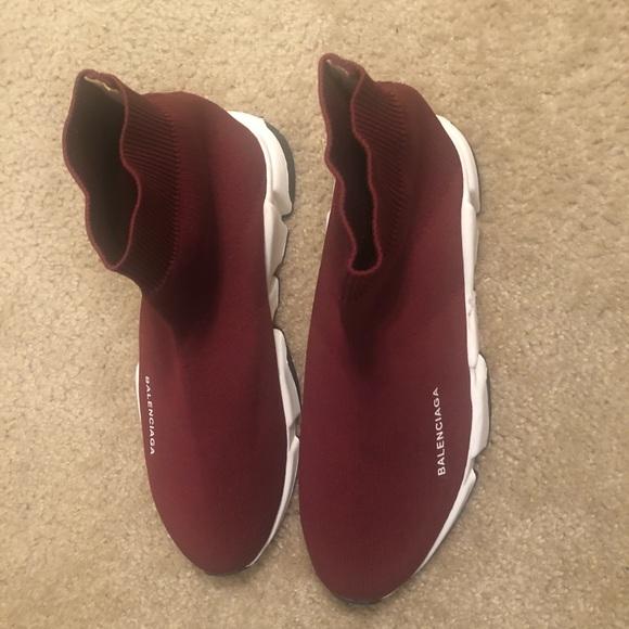 5d420eb7d07b8 Balenciaga Other - Balenciaga Burgundy Speed High-Top Sneakers